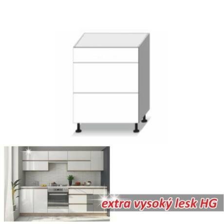 Alsó szekrény 3fiókos, magas fényű fehér, LINE WHITE