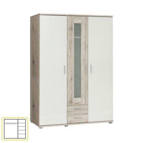 Akasztós, polcos szekrény,homok tölgyfa/fehér, VALERIA 93
