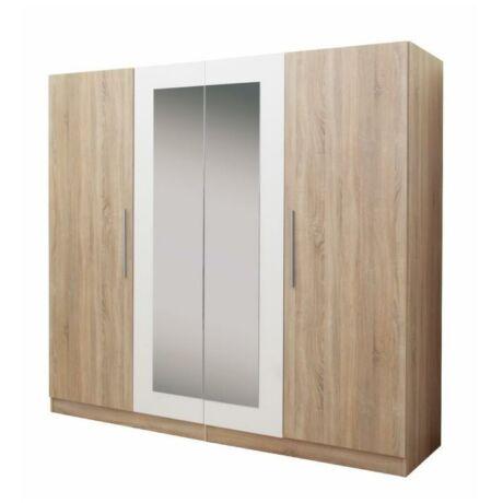 4 ajtós szekrény tükörrel, sonoma tölgyfa/fehér, MATISA