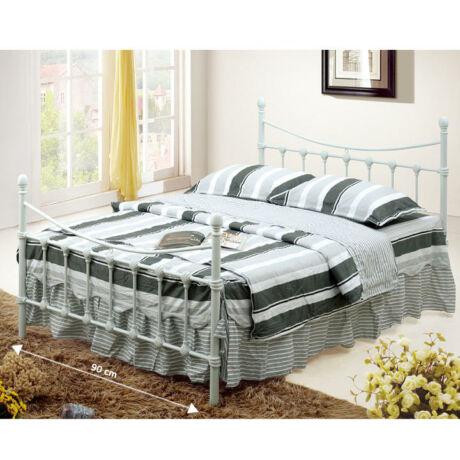 Fém ágy lécezett ráccsal, fém (fehér), 90x200, NIEVES