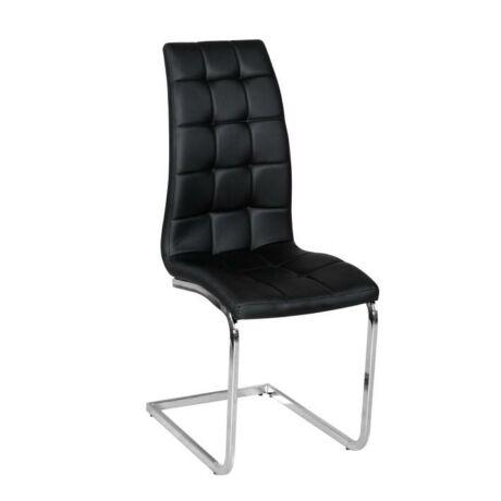 Étkező szék, króm/fekete textilbőr, DULCIA