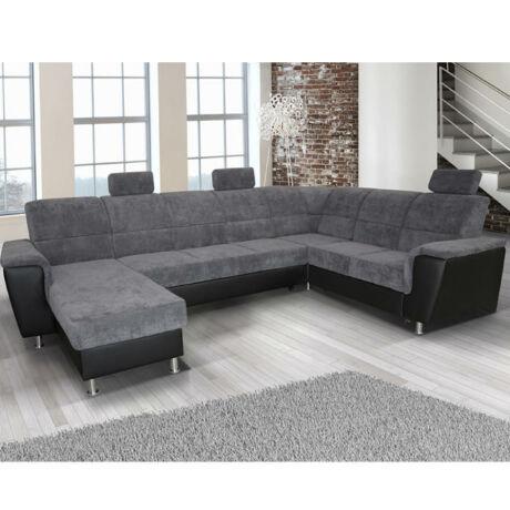 U alakú ülőgarnitúra, jobb oldali kivitel, fekete textilbőr    1114/Matrix 19 ? szürke, SANTIAGO