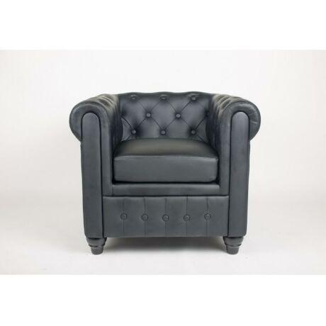 Fotel, fekete textilbőr, fekete tömörfa, CHESTERFIELD