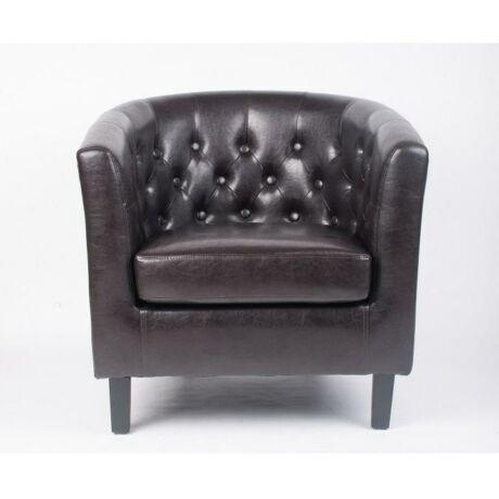 Fotel,sötétbarna textilbőr/fekete tömörfa lábak, MARON