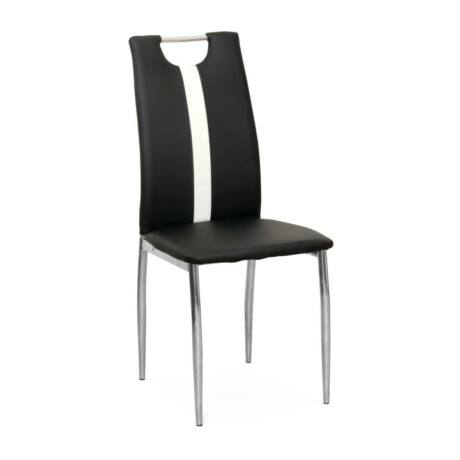 étkezőszék, fekete+fehér textilbőr + fém, SIGNA B-1016