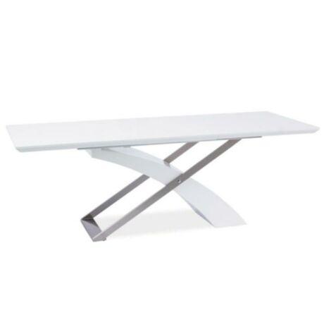 Étkezőasztal összecsukható, MDF fehér +extra magasfényű fehér HG +    króm 160/220x90KROS A-1061
