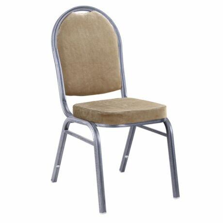 Egymásra rakható szék, bézsszínű szövet/szürke kalapács keret, JEFF    NEW