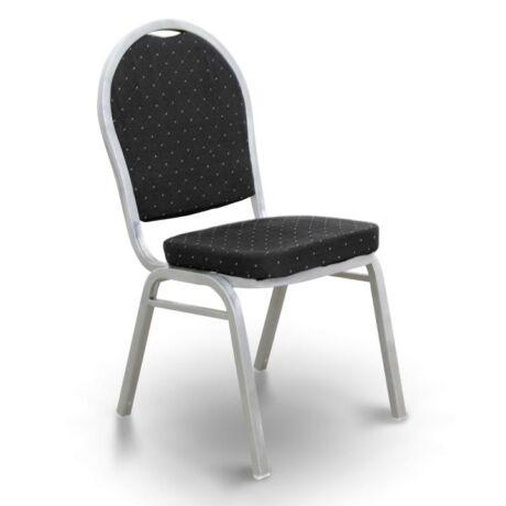 Egymásra rakható szék, fekete szövet/szürke kalapács keret, JEFF