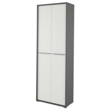 Magas szekrény polcokkal, grafit/fehér, RIOMA 5 TÍPUS
