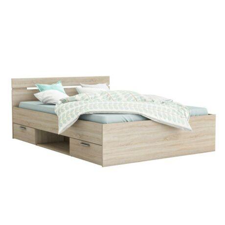 Ágy fiókokkal és tárolókkal, 160x200, sonoma tölgyfa, MICHIGAN