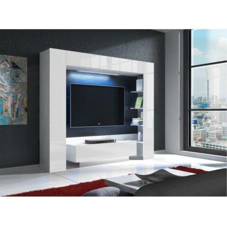 TV és média fal, fehér/ extra magas fényű fehér , MONTEREJ