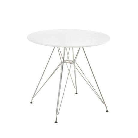 RONDY Étkezőasztal anyag. MDF/Króm , kivitelezés : fehér HG