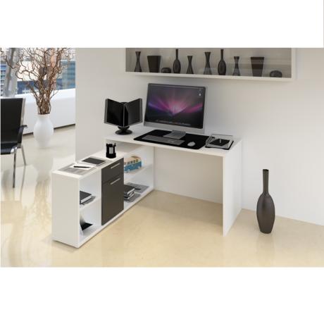 Sarok számítógépasztal , fehér/fekete, NOE NEW
