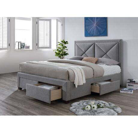XADRA luxus modern ágy nagy steppel fejtámlával és praktikus tároló     helyekkel-4 fiók, lécezett ráccsalszínváltozat: szürke melír 160X200