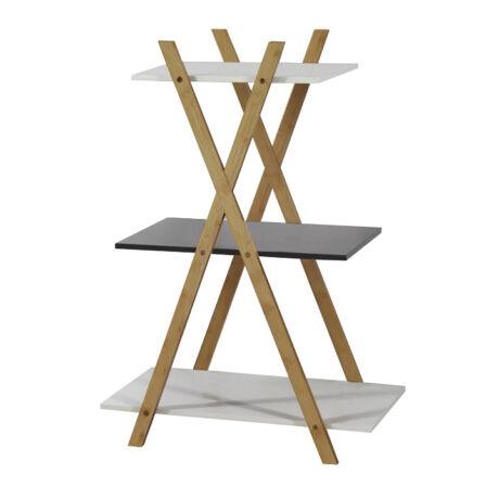 HARUN regál MDF kombinálva bambuszfával fehér/szürke