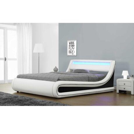 Modern ágy tárolóhellyel, fehér+fekete textilbőr, 180x200 cm,     MANILA