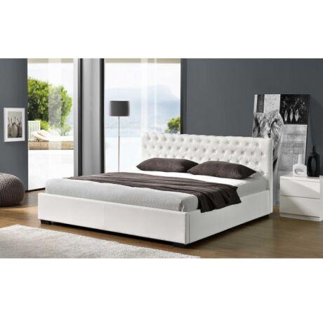 Luxus modern ágy laminált ráccsal fehér ekobbőr 160x200, DORLEN
