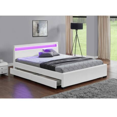 Luxus modern ágy lécezett ráccsal, fehér ekobőrrel,     180x200,CLARETA