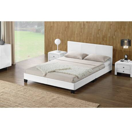 Luxus modern ágy laminált ráccsal fehér ekobbőr 160x200, DANETA