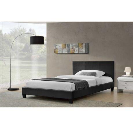 Luxus modern ágy laminált ráccsal, fekete ekobőrrel 160x200 cm ,     NADIRA
