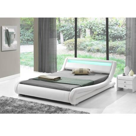 Luxus modern ágy laminált ráccsal, RGB LED világítással, , fehér     ekobőr 160x200 FILIDA