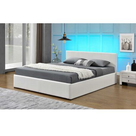 Luxus modern ágy laminált ráccsal, RGB LED világítással, , fehér    ekobőr 160x200, JADA