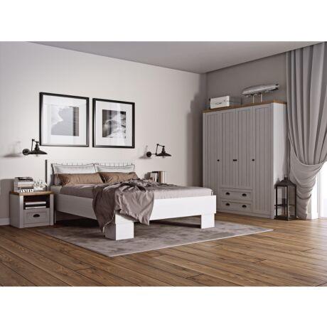 PROVANCE modern halószoba szett, szekrény +ágy + 2 x éjjeliszekrény,    fenyő andersen/lefkas tölgyfa