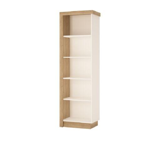 Könyvespolc 01 balos, riviéra tölgy/extra magas fényű fehér HG,    LEONARDO