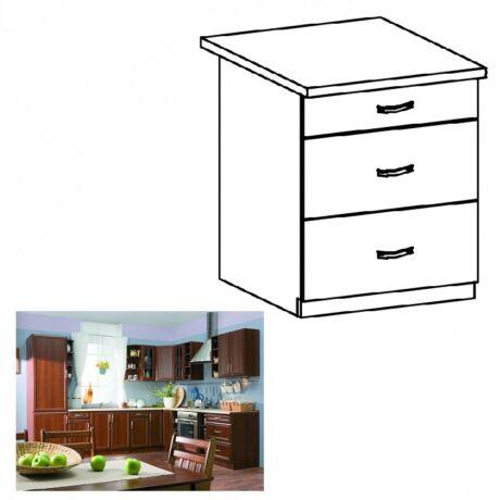 Alsó konyha szekrény három fiókkal, dió Milano, SICILIA D60S3
