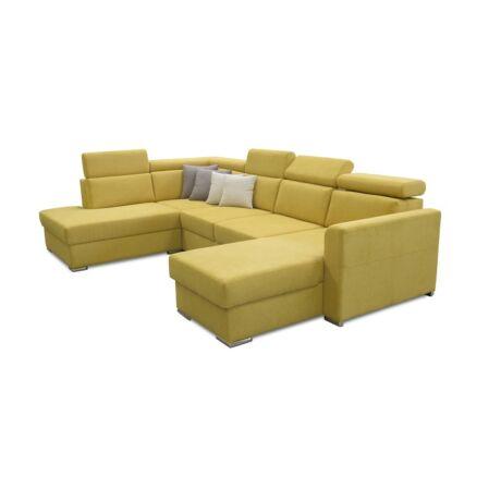 MARIETA U alakú kárpitozott ülőgarnitúra, ágyfunkcióval, balos     kivitelben, sárga/párnák 01 krém/03 barna