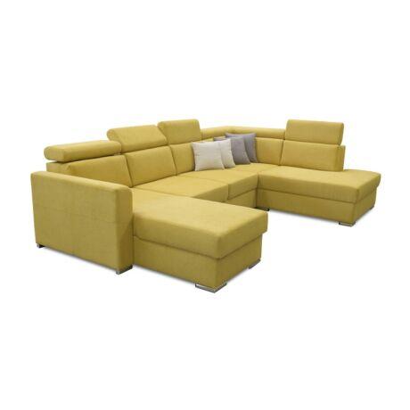 MARIETA U alakú kárpitozott ülőgarnitúra, ágyfunkcióval, jobbos     kivitelben, sárga/párnák 01 krém/03 barna