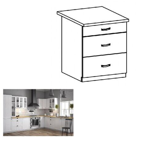 PROVANCE D60S3 konyhai alsó szekrény három fiókkal, fenyő     ANDERSEN/fehér
