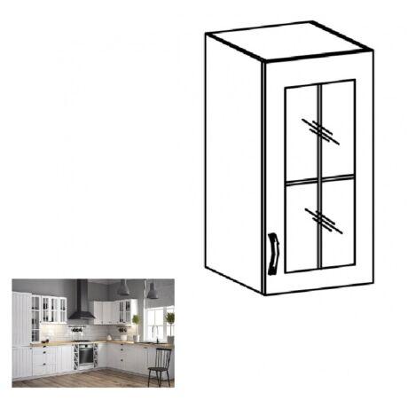 PROVANCE G30S konyhai jobbos felső szekrény polccal és üveges ajtóval,     fenyő ANDERSEN/fehér
