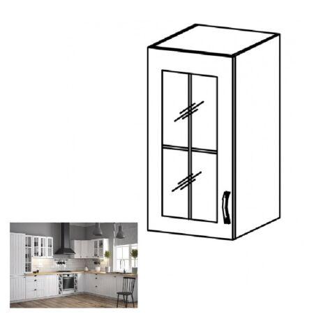 PROVANCE G40S konyhai balos felső szekrény üveges ajtóval, fenyő     ANDERSEN/fehér