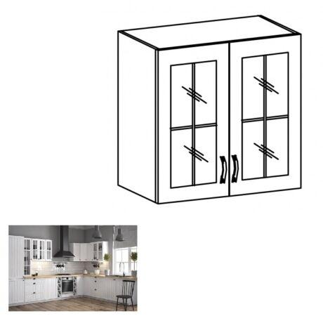 PROVANCE G80S konyhai felső szekrény két üveg ajtóval, fenyő     ANDERSEN/fehér
