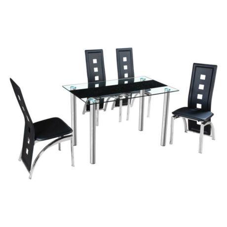 Étkezőasztal, acél + tiszta fekete edzett üveg, ESTER