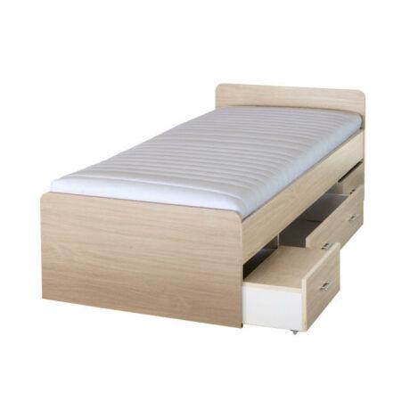 Ágy ágyneműtartóval, juharfa, 90x200 cm, DUET 80262