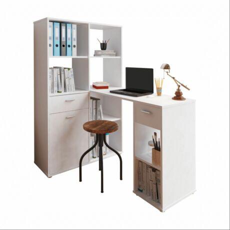 MINESON számítógépasztal könyvespollcal- fehér