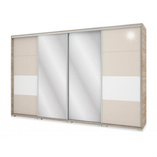 Bond tolóajtós TV-s magasfényű gardrób  kettő tükörrel 318 cm