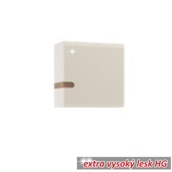 Faliszekrény, fehér - extra magas fényű HG/trufla sonoma tölgyfa,    LYNATET 65 TÍPUS