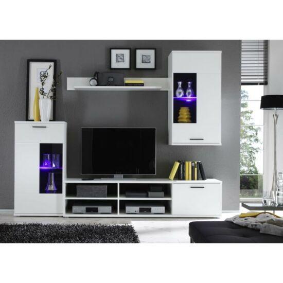 Nappali sor LED világítással, fehér + áttetsző üveg, FRONTAL 1