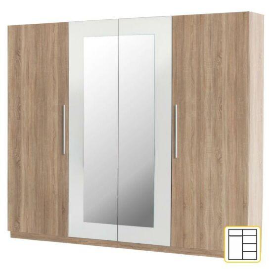 4 ajtós tükrös szekrény, sonoma tölgyfa/fehér, MARTINA