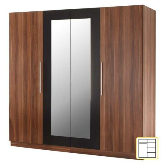 4 ajtós tükrös szekrény, dió/fekete, MARTINA