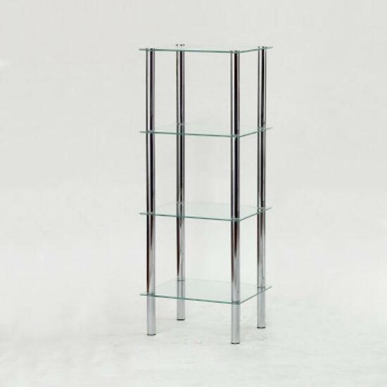 Polcok ? 4 polc, fém (króm) + világos edzett üveg, FREDDY
