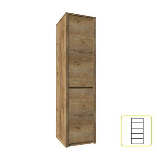 Polcos szekrény 1 elválasztott ajtóval, lefkas tölgyfa, MONTANA    S1D