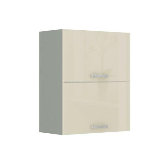 Felső szekrény, krémszínű magas fényű fehér, PRADO 60 GU-72