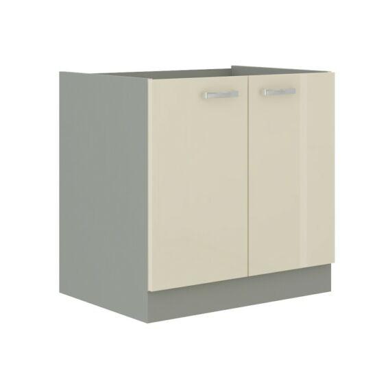 Alsó mosogató szekrény, krémszínű magas fényű fehér, PRADO 80 ZL 2F    BB