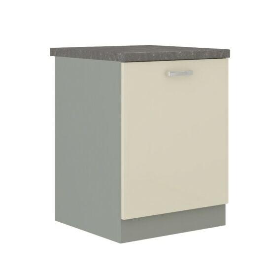 Alsó szekrény, krémszínű magas fényű fehér, PRADO 60 D 1F BB