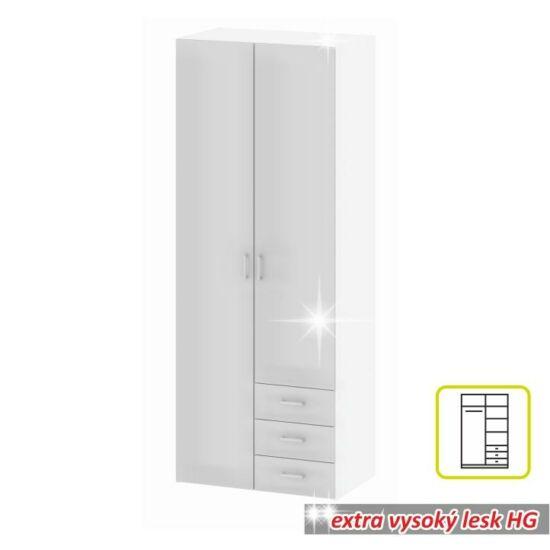 2-ajtós szekrény, fehér extra magas fényű HG, GWEN 70425
