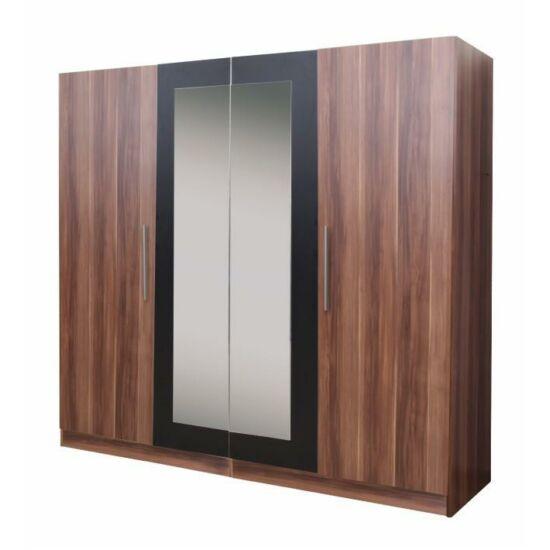 4 ajtós szekrény tükörrel, szilva/fekete, MATISA